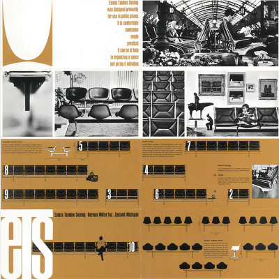 1965 Section of fold out Herman Miller Brochure including the Tandem Seating Shell Series