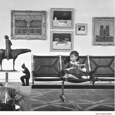 1964 Herman Miller catalog product page featuring the Sling System in a gallery setting