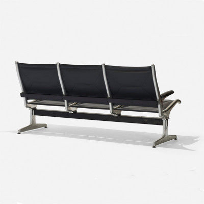 Rear view of the 3-way Eames Sling Seating with view of the T-beam support bar on the underside
