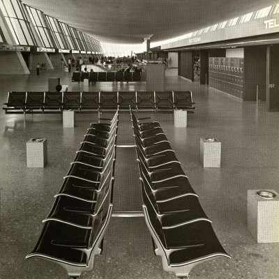 Vintage airport installation photograph featuring back to back and lined Sling Seats