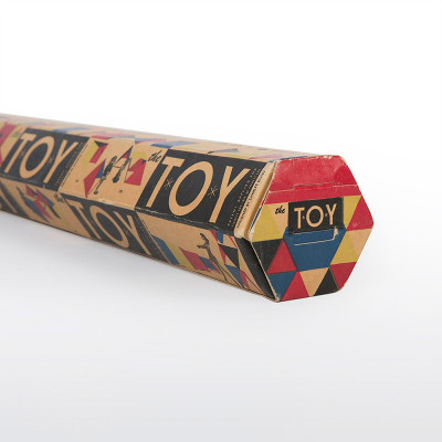 Hexagonal original 1951 Tigrett Enterprises packaging for the Eames 'The Toy'