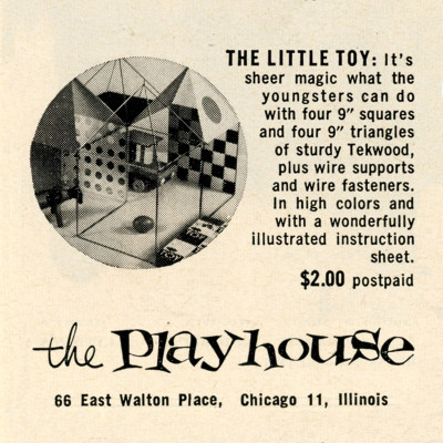 Vintage 1953 newspaper advert for 'The Playhouse' featuring the Eames Little Toy