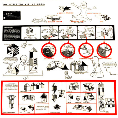 The instructions of the Eames Little Toy with examples and characters