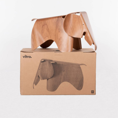 Recent editions (post 2017) of the Plywood Elephant are made by Vitra in Cherry wood