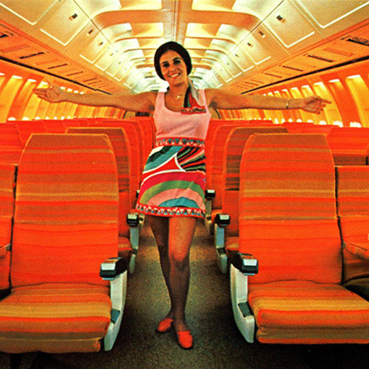 The glorious 1960's were very much captured in the designs Girard made for Braniff Airlines in 1965