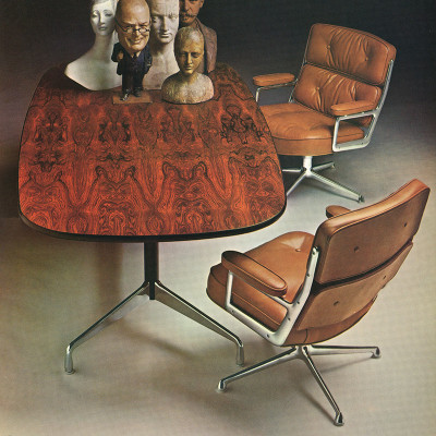 1963 Herman Miller catalog photograph of both the 675 and 3475 Time Life Lounge Chairs
