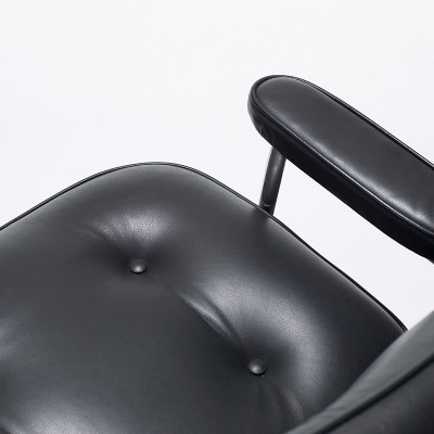 Top down view of the Time Life Lobby Lounge Chair, the arm and black leather exterior