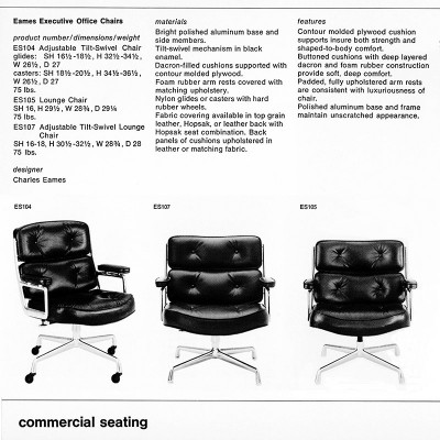 1977 Herman Miller catalog page featuring the 3 chairs of the Time Life Series