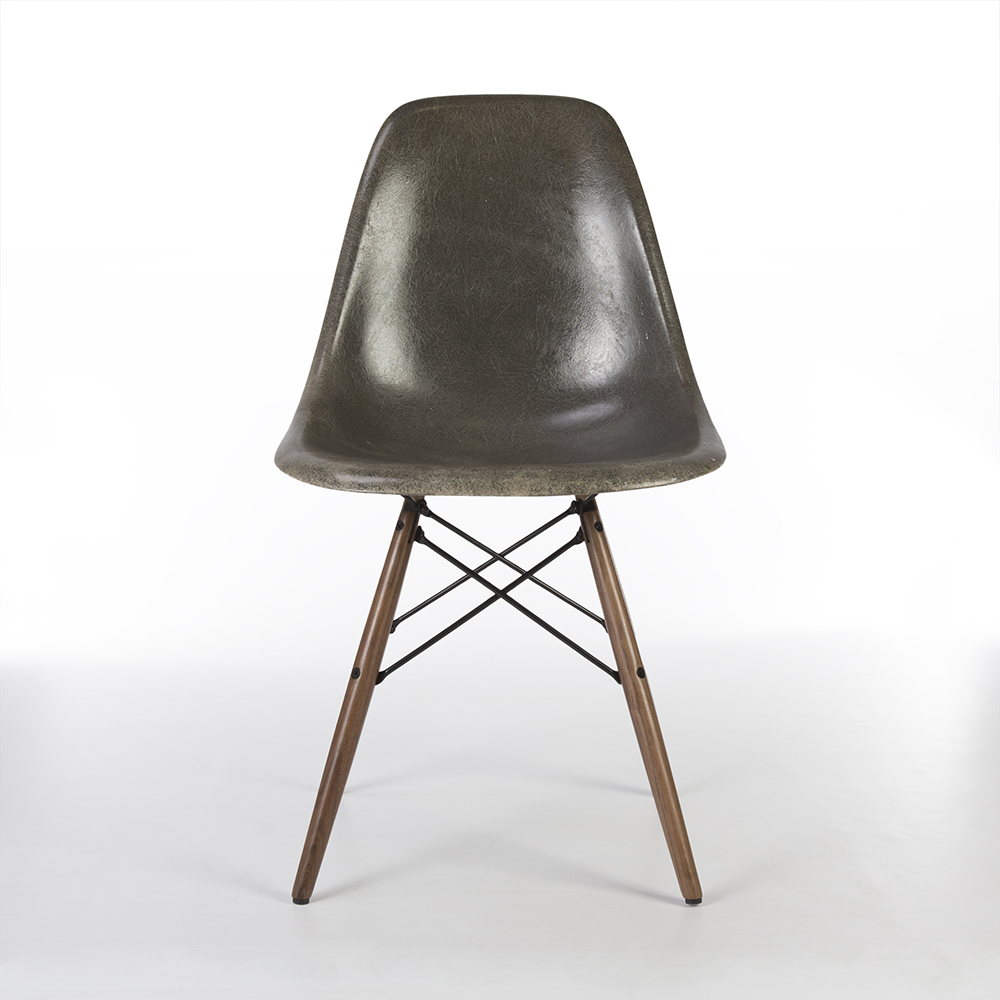 Elephant Hide Grey 1950s Herman Miller Eames DSW Dowel Side Chairs in very good condition