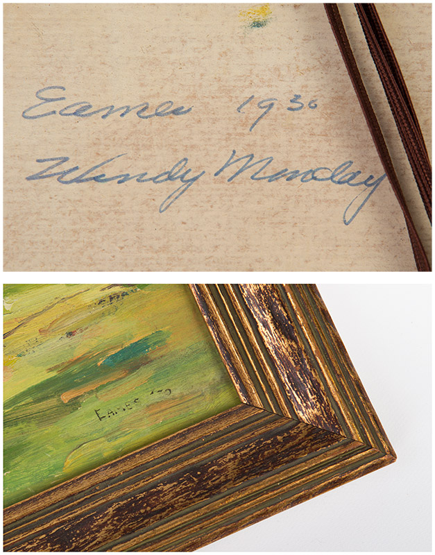 Top - written signed signature and date on canvas reverse and bottom - painted signature