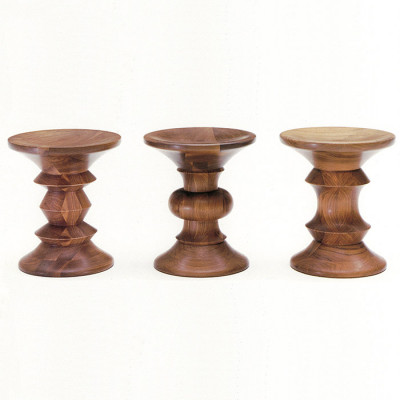 All 3 marketed versions of the Walnut Stool in order of 0413 (C), 0412 (B) and 0411 (A)