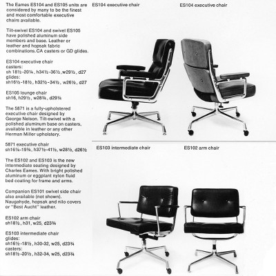 1968 Herman Miller brochure showing the Intermediate chair alongside the Time Life Chairs