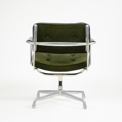 Rear view of a Girard upholstered green ES102 Intermediate chair with fixed seating position