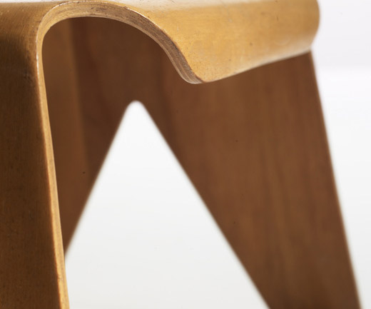 The stool was one piece and the curve of the legs can be seen with the clear signs of ageing you would expect of a chair this old
