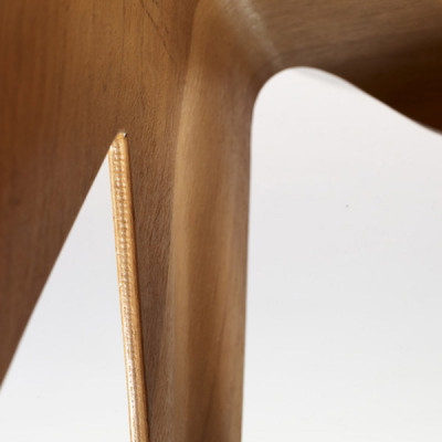 Inner section of the underside of the Children's Nested Plywood stool also showing the ply layers