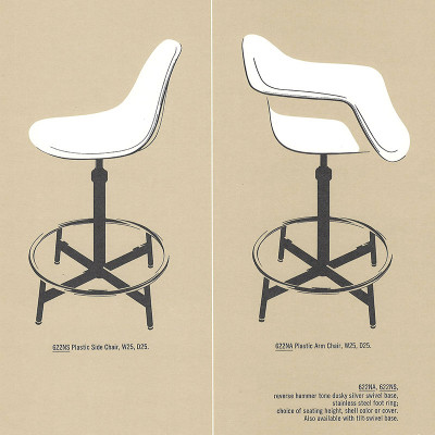 A 1963 Herman Miller brochure page depicting the 600 series arm and side Draftsman's Stools
