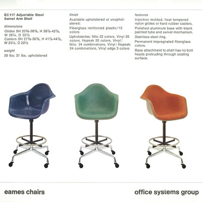 1977 Herman Miller catalog page depicting the later second generation Universal Base versions