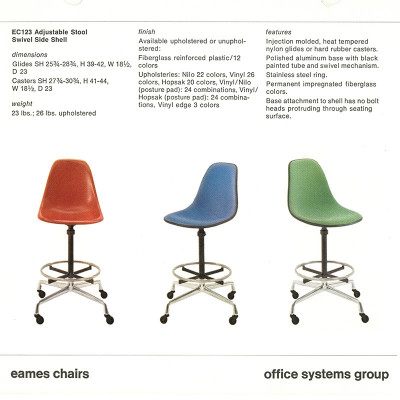 Mid 1970's Herman Miller catalog page detailing the range of Side top Draftsman's Stools