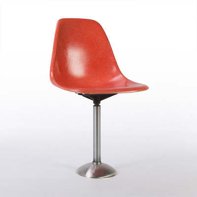 MBP Stool with 180 degree swivel featuring a red orange fiberglass side shell