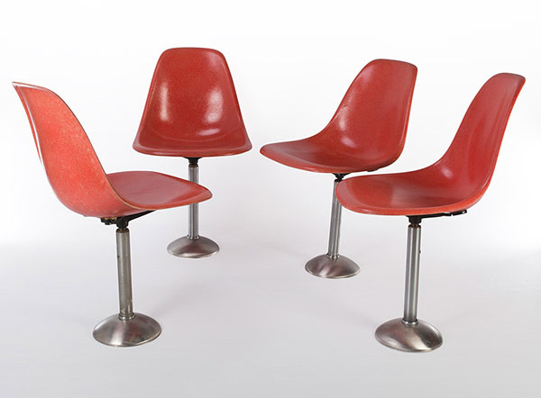 Set of 4 MBP red orange stools with 180 degree swivel and self centering mechanism