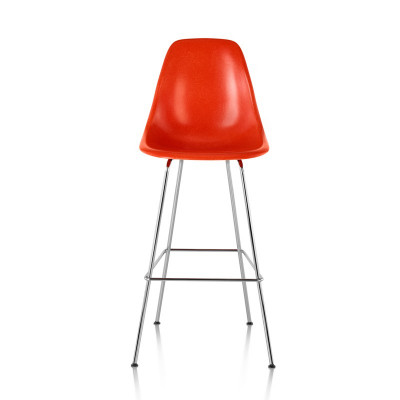 The counter and bar stools are available with the latest generation of fiberglass tops from Herman Miller