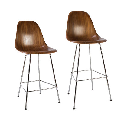 Herman Miller's beautiful plywood side tops are available with both sizes of the stool base