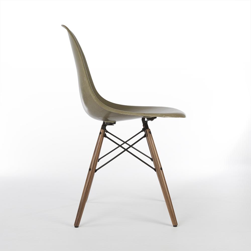 Raw Umber Grey 1960s Herman Miller Eames DSW Dowel Side Chairs