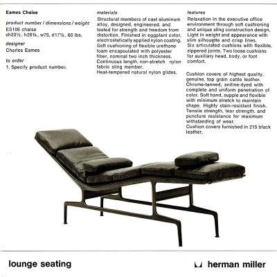 1970's Herman Miller catalog page featuring the ES106 Leather Chaise