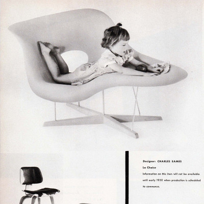 This 1949 Forum Magazine article shows the prototype Eames La Chaise with production mentioned for 1950