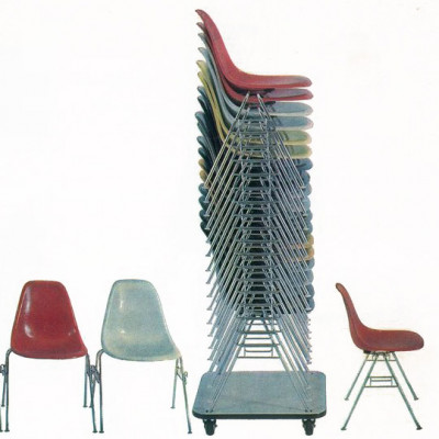 Late 1960's Herman Miller brochure advert for the DSS stacking chairs and featuring Dolly A