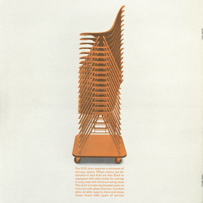 Late 1950's Herman Miller printed brochure featuring the DSS stackers and Dolly