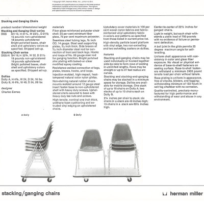1970's Herman Miller catalog page featuring the Eames DSS stacking chairs and Dollies