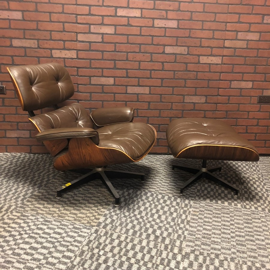 Brown 1980 Herman Miller Eames Eames Lounge Chair & Ottoman Lounge Seating