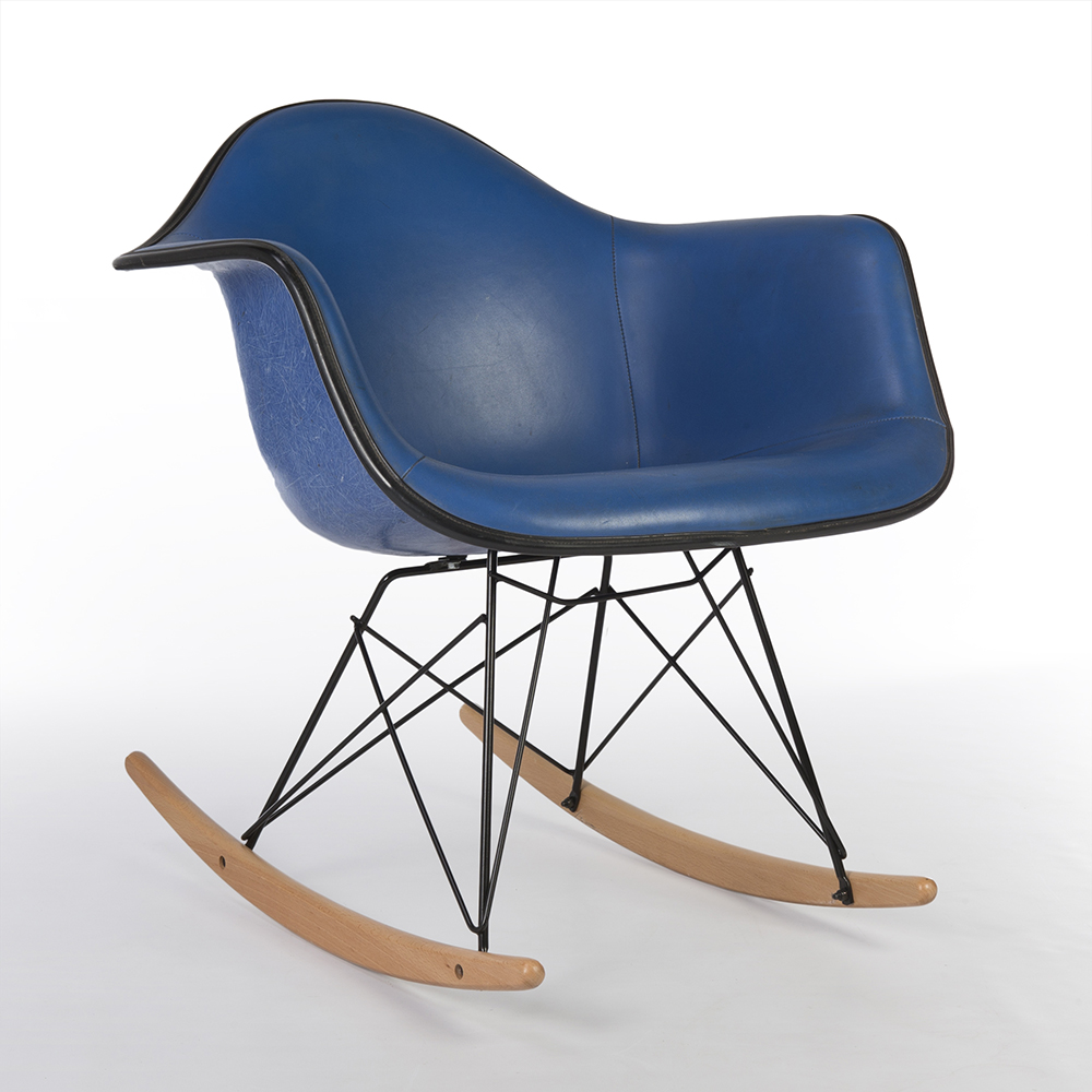 Blue 1980s Herman Miller Eames RAR Rocking Arm Chairs in very good condition