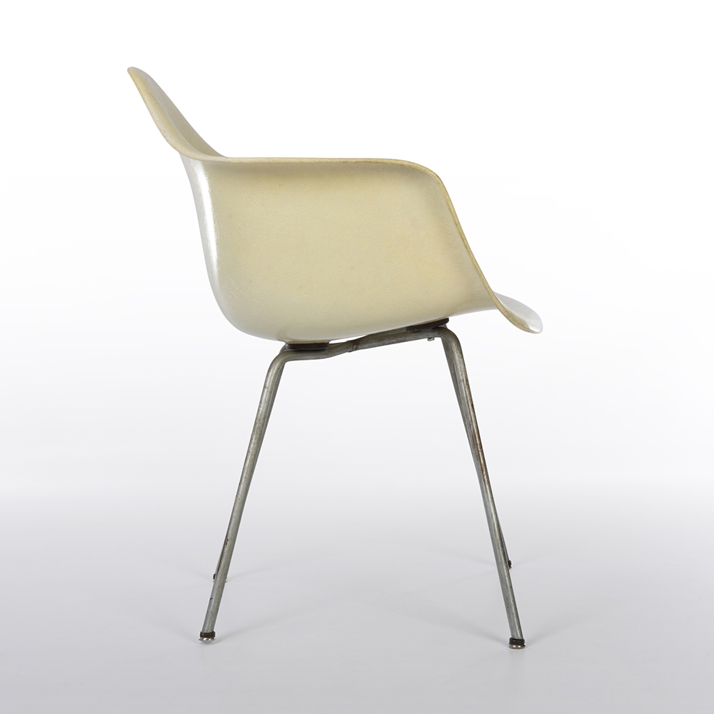 Lemon Yellow 1950 Zenith Plastics Eames DAX (& Variants) Arm Chairs in very good condition
