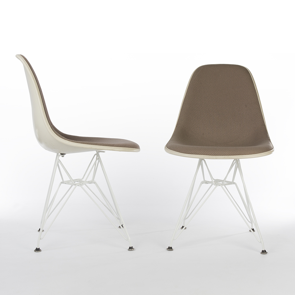 Beige 1980s Herman Miller Eames DSR Eiffel Side Chairs in very good condition