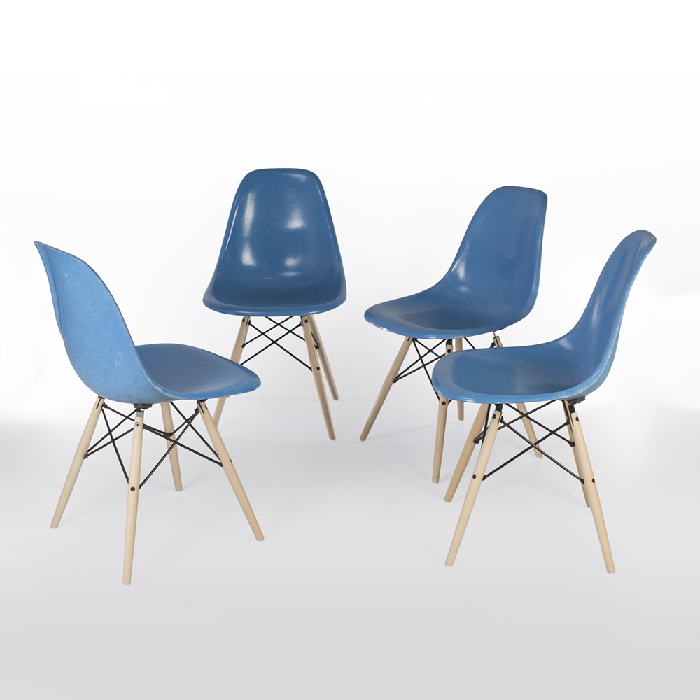 Cobalt Blue 1950s Herman Miller Eames DSW Dowel Side Chairs in very good condition