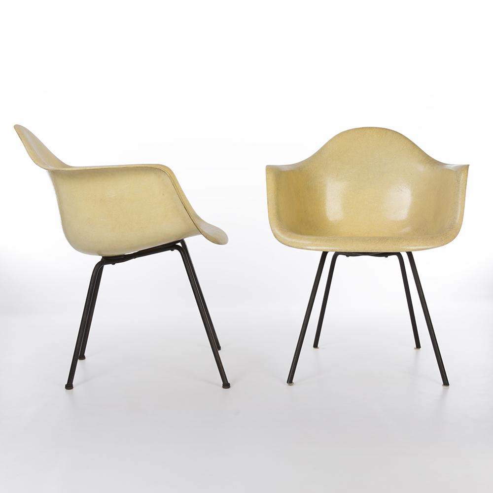 Lemon Yellow 1950 Zenith Plastics Eames DAX (& Variants) Arm Chairs in excellent condition