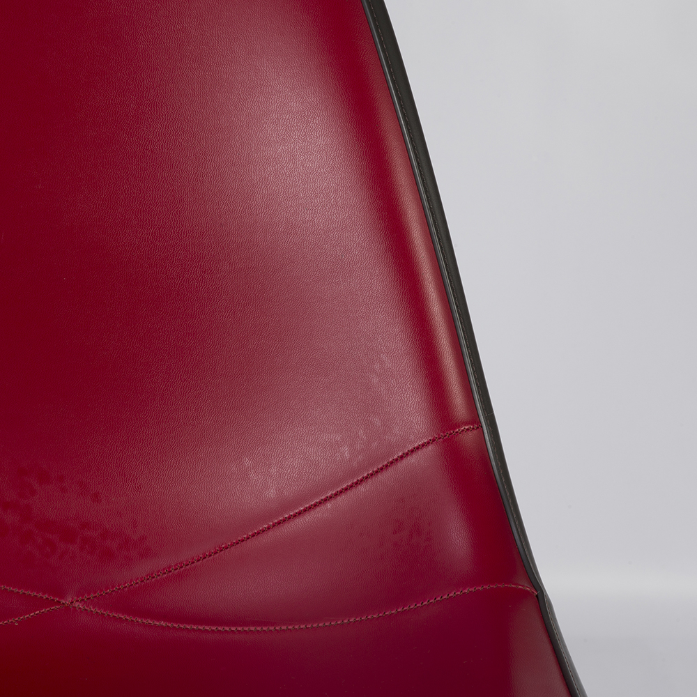 Crimson Red 1980s Herman Miller Eames DSW Dowel Side Chairs in very good condition
