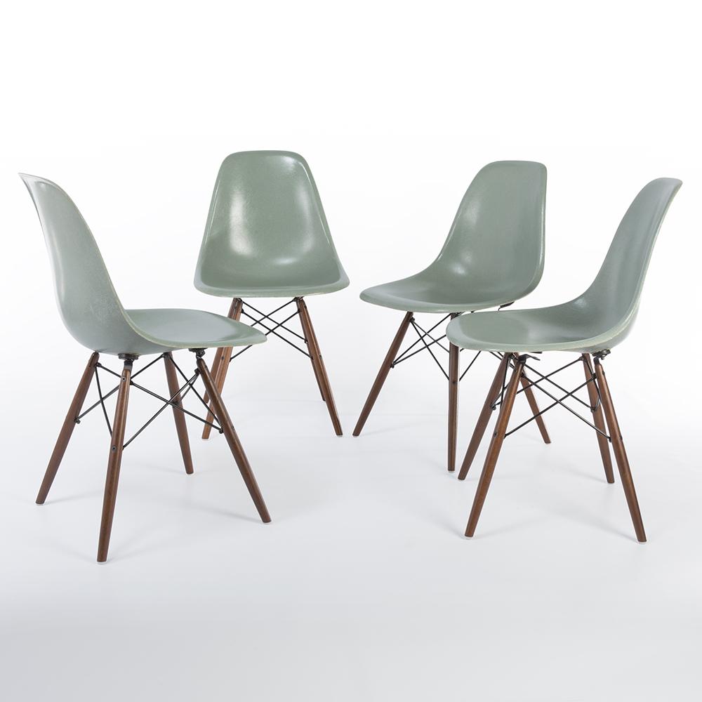 Sea Foam Green 1950s Herman Miller Eames DSW Dowel Side Chairs in very good condition