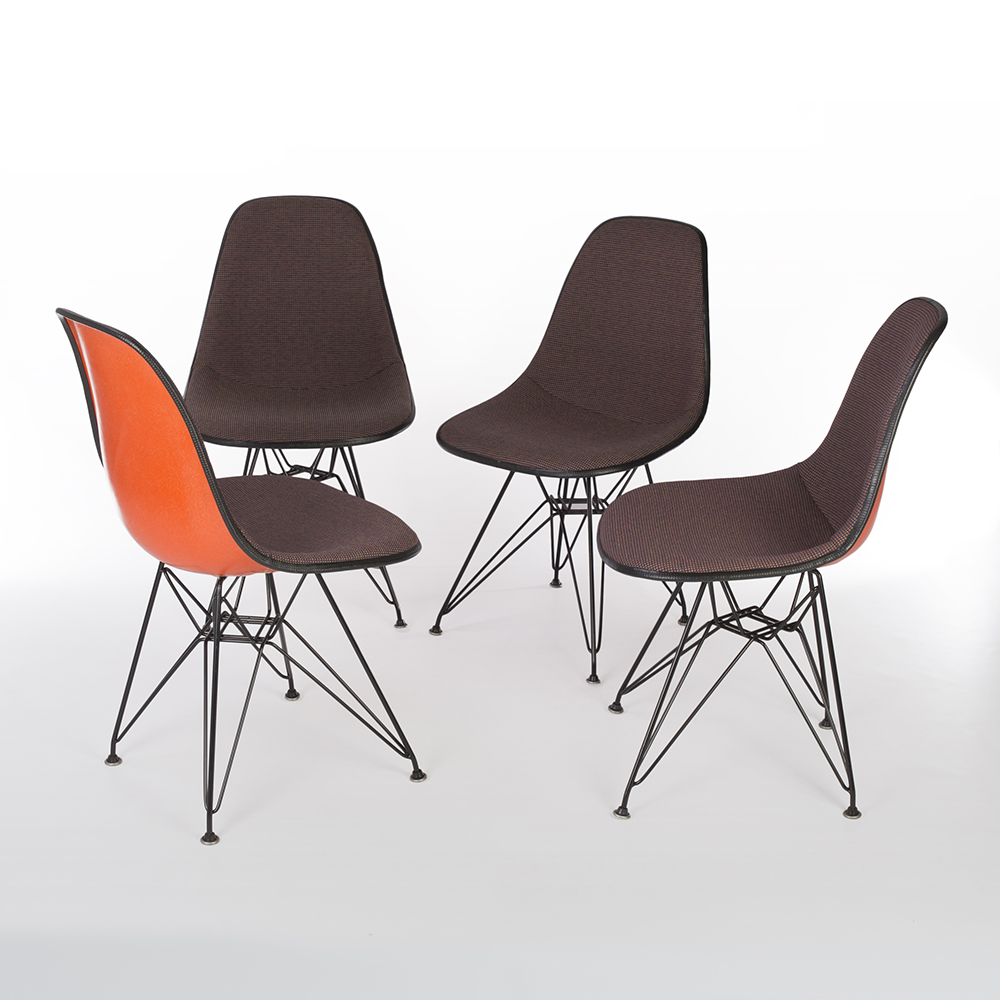 Orange 1970s Herman Miller Eames DSR Eiffel Side Chairs in very good condition