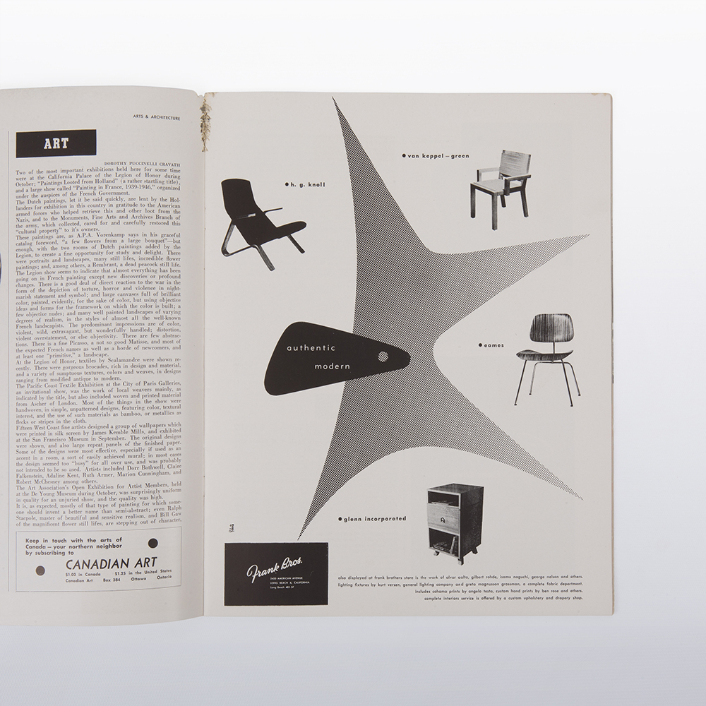 1947 Eames Art & Architecture Ray Eames Cover Artwork in excellent condition