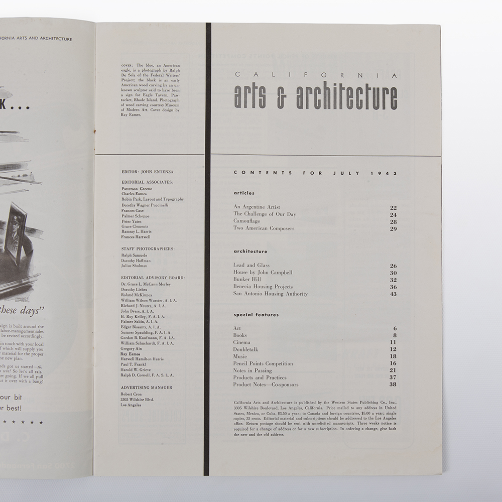 1943 Eames Art & Architecture Ray Eames Cover Artwork in excellent condition