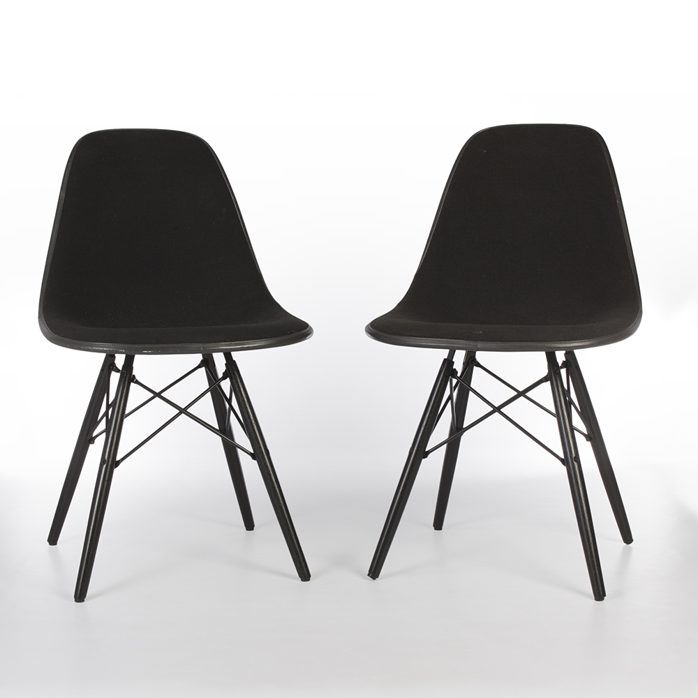 Black 1970s Herman Miller Eames DSW Dowel Side Chairs in very good condition