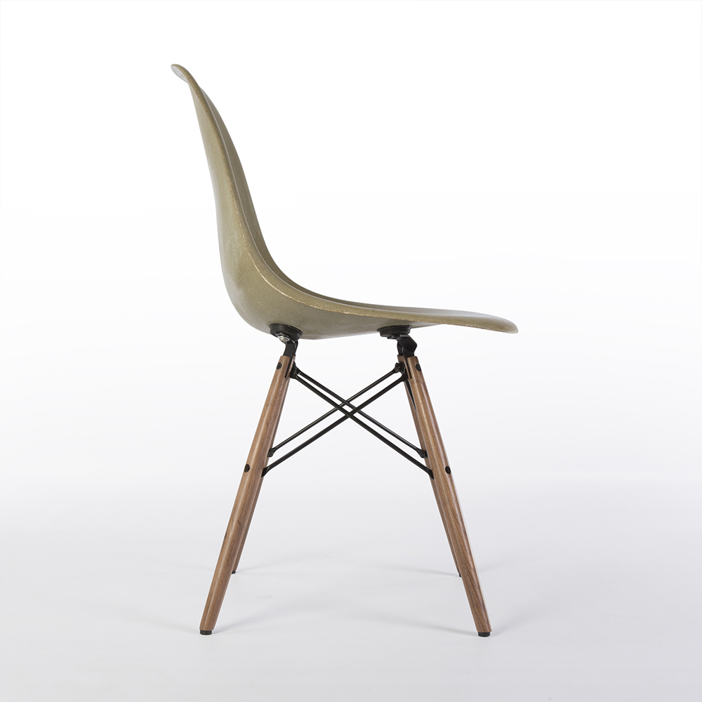 Raw Umber Grey 1970s Herman Miller Eames DSW Dowel Side Chairs in very good condition