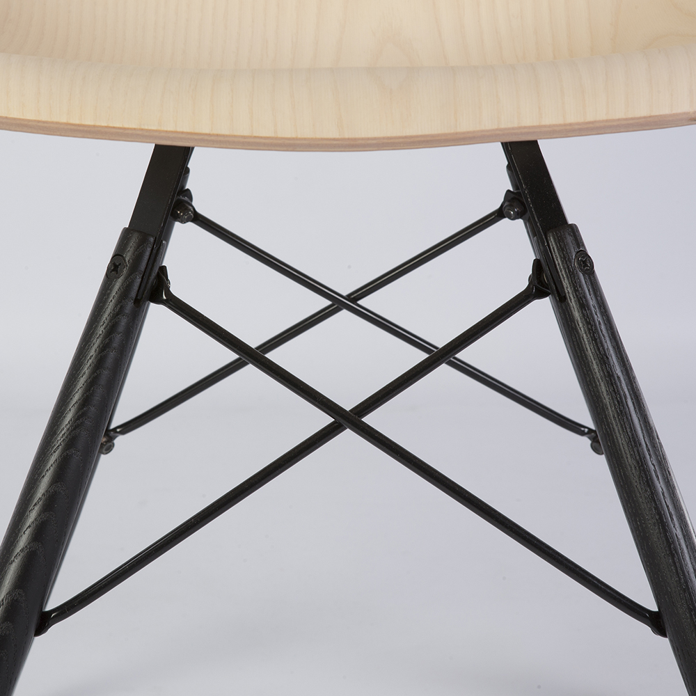 Wooden 2010s Herman Miller Eames DSW Dowel Side Chairs in very good condition