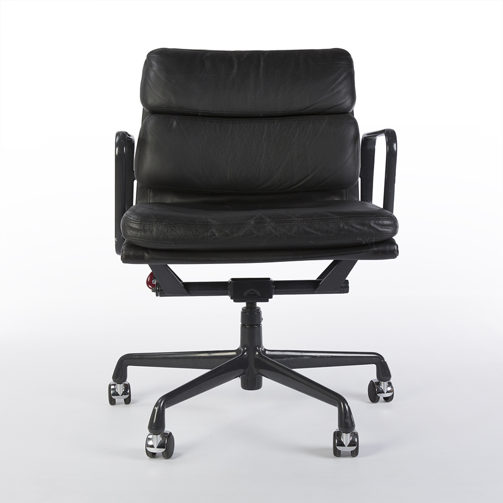 Black 2000s Herman Miller Eames Soft Pad low Back Side Chair Seating in excellent condition