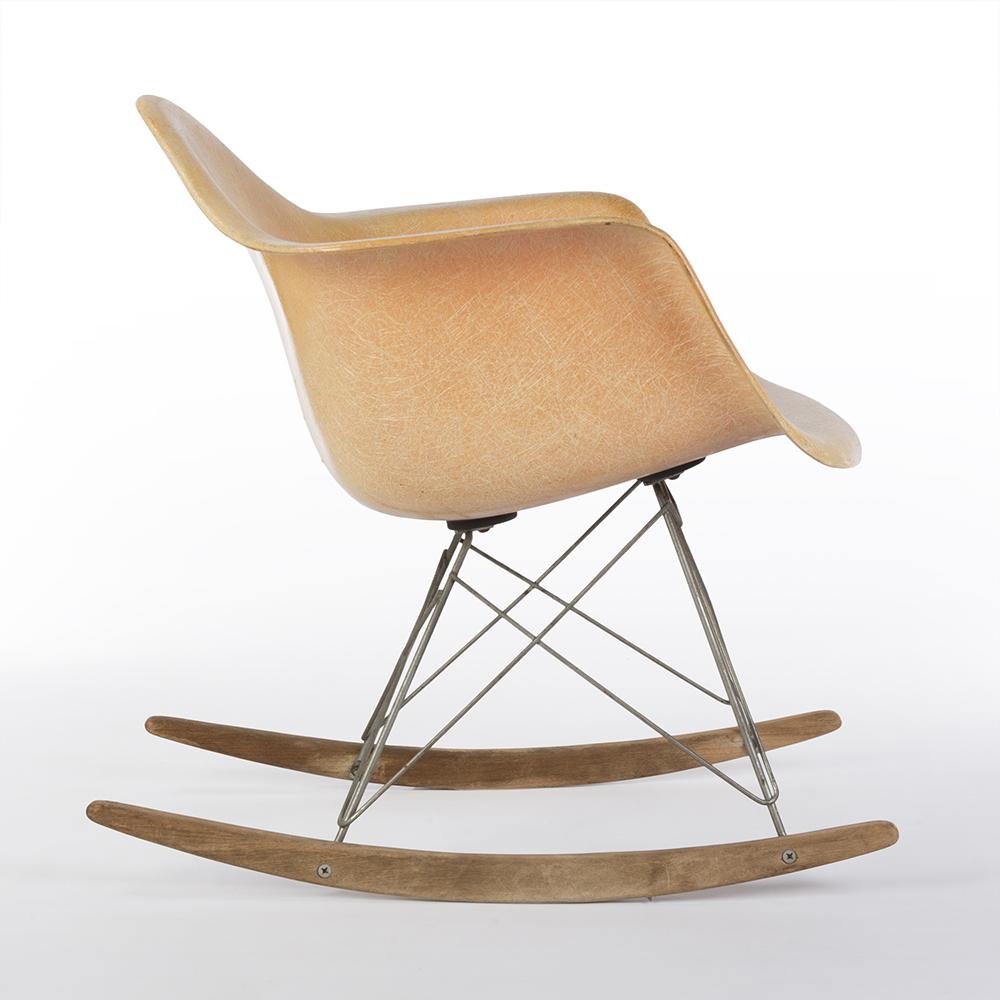 Salmon Orange 1950s Zenith Plastics Eames RAR Rocking Arm Chairs in excellent condition