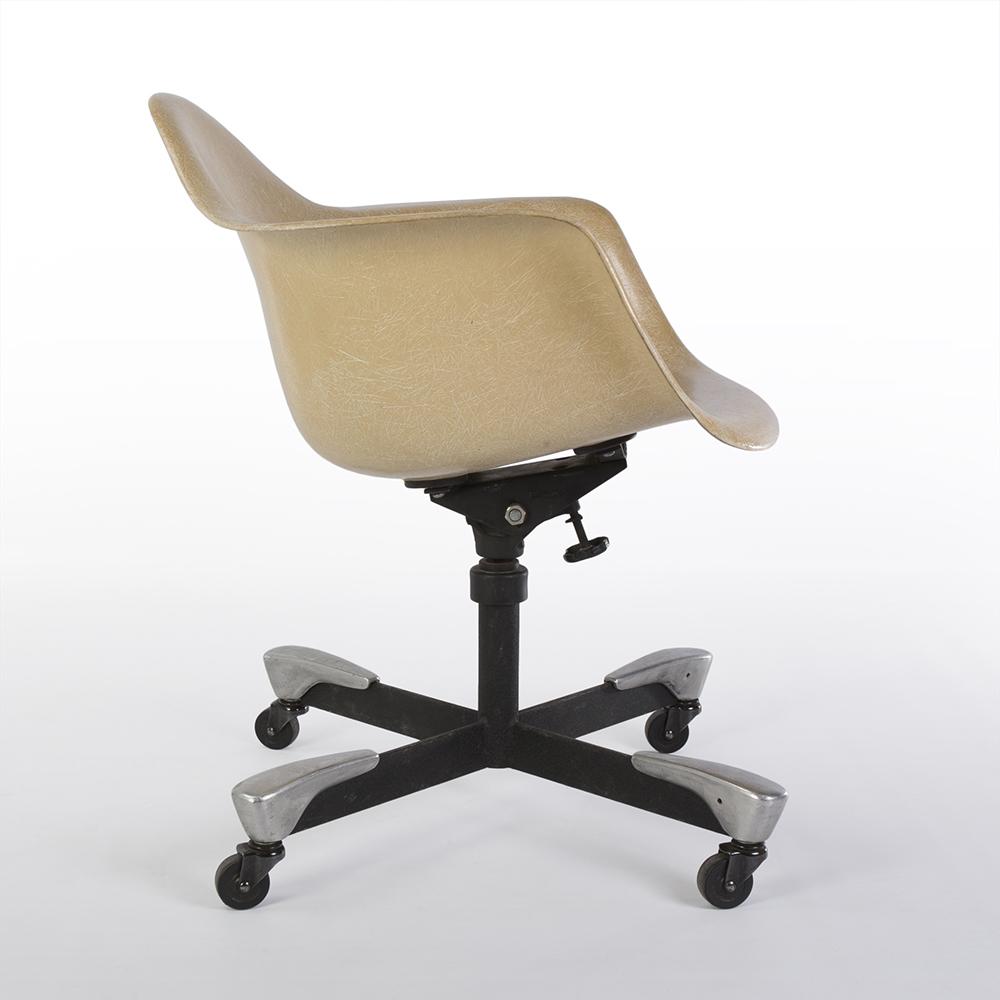 Greige 1950s Zenith Plastics Eames DAT Tilting Arm Chairs in excellent condition