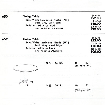 1959 Herman Miller catalog page of the Model 650 complete with pricing
